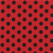 A high resolution bright red fabric with black polka dots — Stock Photo