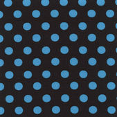 A high resolution black fabric with blue polka dots — Stock Photo