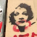 Stencil grafitti Marlene Dietrich — Stock Photo #18998271