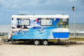 A painted van on Tel Aviv Beach — Stock Photo