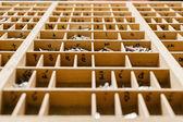 Caja con letras de imprenta — Foto de Stock