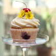 Cupcake with Cherries and Flower — Stock Photo