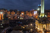 Maidan - view on mass protests on independence square at night — Stock Photo