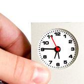Hand holding klok. termijn concept — Stockfoto