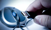 Isolated mouse and hand holding usb — Stock Photo