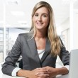 Young successful business woman working at office — Stock Photo #19289337