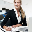 Young successful business woman working at office — Stock Photo