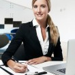 Young successful business woman working at office — Stock Photo #19289377