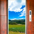 Elevator door and landscape - Stock Photo