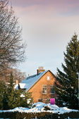 Big house on winter from Netherlands — Stock Photo