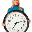 young stresed woman holding a big clock — Stock Photo