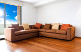 Living room with big sofa - interior design — Stock Photo
