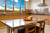 Interior design series: classic and modern kitchen with landscap — Stock Photo
