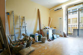 Hotel room at restoration with construction materials — Stock Photo