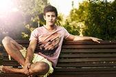 Young man fashion shot at summer day — Stock Photo