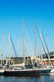 Sailboats and yachts at blue ocean in a summer day — Stock Photo