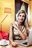Kobieta młody biznes sukces pracy w domu. biuro — Zdjęcie stockowe
