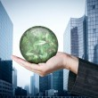 Royalty-Free Stock Photo: Ecology concept: Hand holding a globe with nature leaves on busi