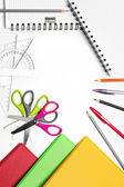 Geri okul serisi için: shool malzemeleri beyaz arka plan üzerinde — Stok fotoğraf