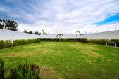 Duży ogród z biały płot, zielona trawa i niebieski niebo — Zdjęcie stockowe