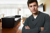 Successful business man at his new modern house — Stock Photo