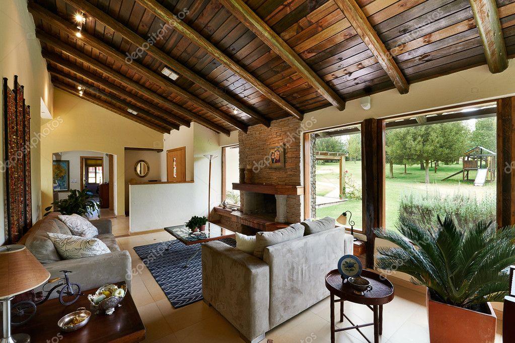 Interior Design Series Classic Rustic Living Room Stock