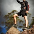 Successful man at the top of the mountain — Stock Photo
