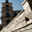 Old church and wall in the medieval city of Toledo, Spain — Stock Photo