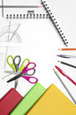 Back to School Series: shool supplies on white background — Stock Photo