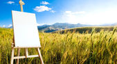 Canvas on tripod on beautiful wheat landcape at the andes mounta — Stock Photo