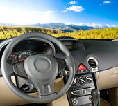 Car interior. Landscape view — Stock Photo