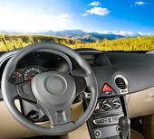 Car interior. Landscape view — Stock Photo