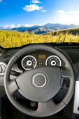Landscape view from a car interior — Stock Photo