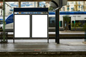 Empty blank billboard at train station — Stok fotoğraf