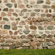 Background of stone wall and green grass — Stock Photo