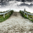 Dirt road and dramatic skies HDR — Stock Photo