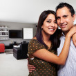 Young happy couple at their new modern house — Stok fotoğraf