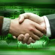 Hand shake tech background - Stockfoto