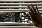 Man at office opening window blinds and seeing business towers — Stock Photo