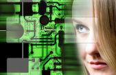 Technology woman — Stock Photo