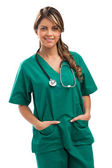 Smiling medical woman doctor with stethoscope. Isolated over whi — Foto de Stock