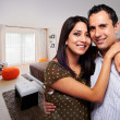 Young happy couple at bedroom — Stock Photo #25960009