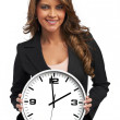 Stock Photo: Business womholding clock. Isolated over white