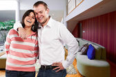 Young happy couple at their new house — Stock fotografie