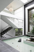 Interior Design: Stairs and Waterfall — Stock Photo
