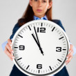 Stock Photo: Time Concept: Business womholding clock