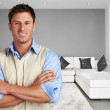 Young succesful man at new modern home — Stock Photo #26008707