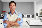 Young succesful man at new modern home — Stock Photo