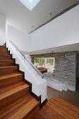 Interior design: Modern wooden stairs — Stock Photo
