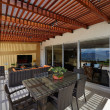 Stock Photo: Interior design: Beautiful modern terrace lounge with pergola
